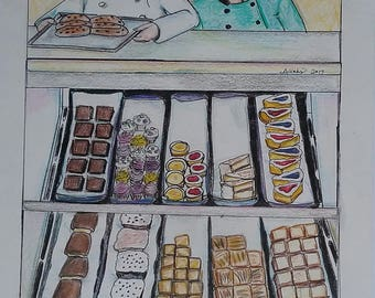 Bakery Original Drawing Illustration Vohs