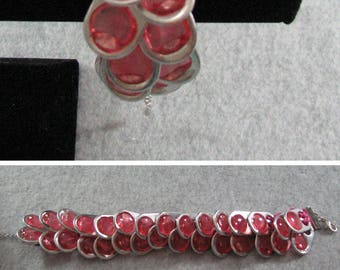 Pop Tab Bracelet - Pink Ribbon Bracelet with Pink Pop Tabs - Crochet Bracelet - Pop Tab Jewelry - Ribbon Bracelet - Beaded Bracelet
