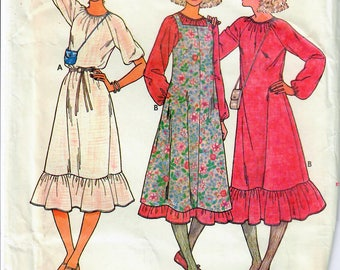 1970s Butterick 6294 UNCUT Vintage Sewing Pattern Misses Peasant Dress, Boho Dress, Jumper Size 6-8