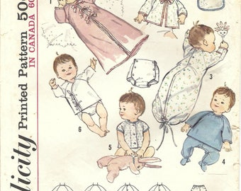 1960s Simplicity 5163 Vintage Sewing Pattern Infant Layette, Infant Wardrobe One Size