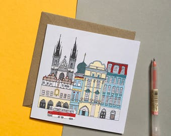 Prague Greetings Card - Prague Cityscape - Prague Scene - Wedding Card