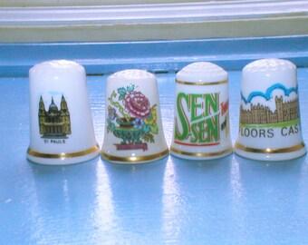 4 Vintage Bone China Porcelain Thimbles Collectible Rose Thimble Sen Sen Thimble Sewing Notions