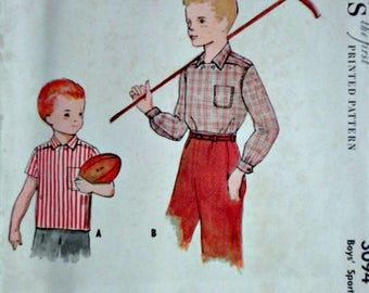 Vintage 50's McCall's 3094 Sewing Pattern, Boys' Sport Shirt, Size 4, 23 Chest