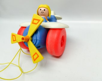 Vintage pull toy - Fisher Price - airplane with pilot