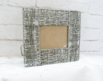 Vintage 90s Industrial Twisted Metal Wire Circuitry Photo Picture Frame 8x7 3x4 Primitive Rustic Modern Mod