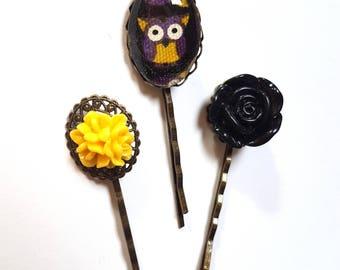 Owl Hair Pin-Set of 3-Antique Brass Bobby Pin-Flower Hair Slides-Halloween Gift-Bird Fan-Gift for Teens-Hair Accessory-Fashion for Girls