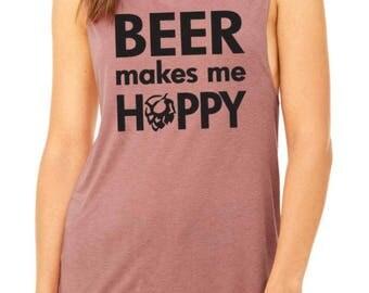 Beer Makes Me Hoppy Muscle Tank