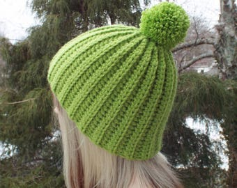 Light Spring Green Crochet Hat, Womens Beanie with Pom Pom, Chunky Hat, Classic Ribbed Beanie, Mens Winter Hat, Fitted Hat