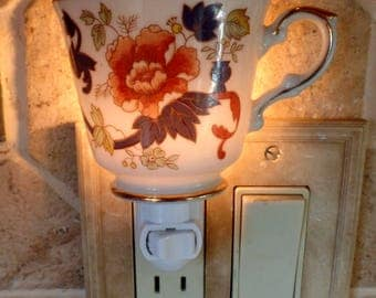 White China With Gold Trim, Orange & Blue Flowers Oriental Style Pattern Tea Cup Night Light