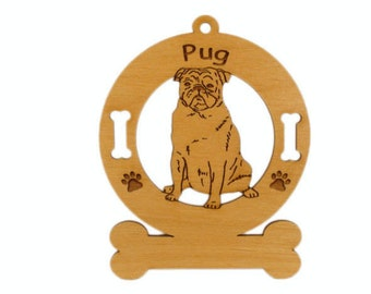 3758 Pug Sitting Personalized Dog Ornament