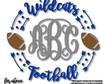 Team Wildcats Football Monogram Frame Wreath (monogram NOT included) SVG, DXF, eps, png, jpg digital cut file for Silhouette Cricut