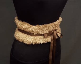 Fluffy Faux Fur Light Brown Boned Corset Waist Cincher Obi Any Size