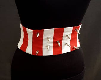 Metal Spikes Red and White Striped Boned Corset Waist Cincher Obi Any Size