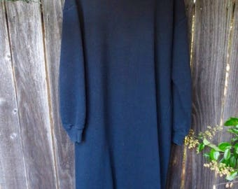 VINTAGE 80's Laura Ashley Long Black Sweatshirt Dress RARE! Winter Dress Bohemian Tunic Maxi Kaftan