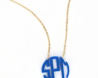 Heartstrings Small Circle Monogram Acrylic Necklace
