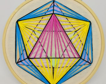 Icosahedron Embroidery Bright and Pastel Rainbow Sacred Geometry