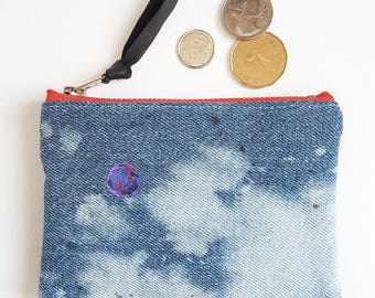 REPURPOSED Denim Change Purse. Upcycled Denim. Bleached Denim. Galaxy. Outer Space. Planets. Jean Pouch. Leather Coin Purse. Ready To Ship.