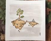 the gardener - original mini tea painting (unframed)