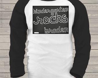 Back to school shirt - chalkboard kindergarten or ANY grade ROCKS personalized back to school KIDS raglan shirt mscl-108-r