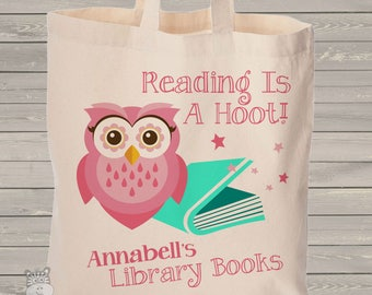 Girl owl library book reading is a hoot personalized tote bag - choose value or heavyweight tote MBAG1-051