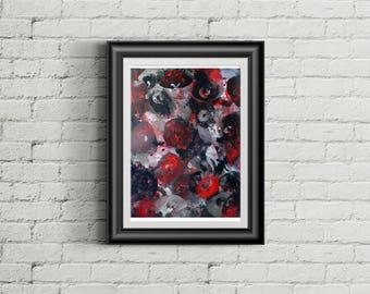 Chaos 8 x 10 wall art, print, painting, home wall decor, original art, abstract, breast art, design, graphic, feminist art