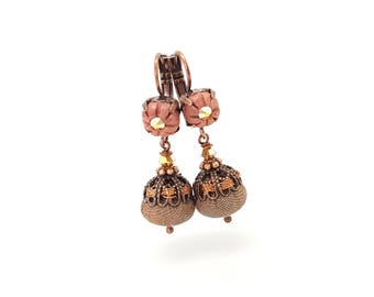 Round earrings brown, cotton fabric, copper tone clay