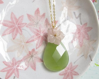 Green Aventurine Pink Rose Quartz Flower Necklace, Gold Chain, Large Stone Teardrop Pendant, Wire Wrapped Jewelry