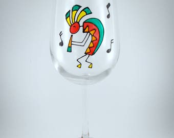 Kokopelli with Music Notes, Hand Painted Wine Glass, Red, Teal, Orange, Yellow
