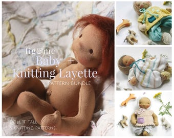 Baby Doll Pattern | Knitting pattern | Pattern Bundle | Weighted Baby Doll | Needlefelted Doll Sculpting | Doll Knitted Layette