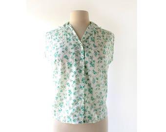 60s Floral Blouse | Mint Rose | 1960s Blouse | Medium M