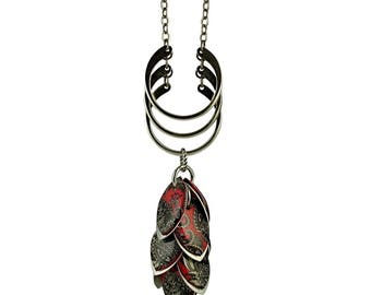 Black and Red Paisley Necklace and Earrings Set