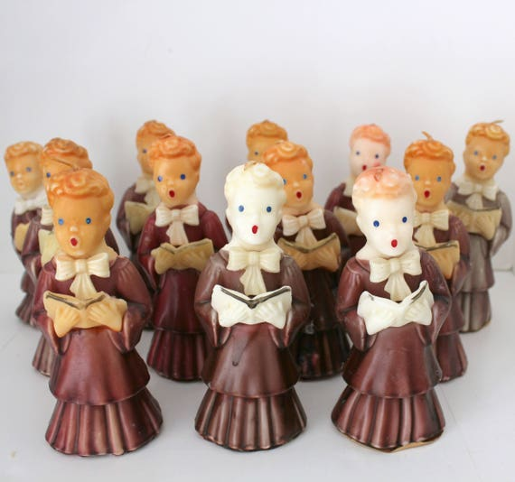 "12 Gurley Candle Choir Boys, Large 7"" Tall, Vintage Christmas Carolers, Purple, Mauve, Wine Robes"