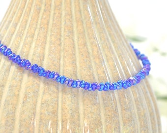Blue Ankle Bracelet Blue Anklet Adjustable Ankle Bracelet Minimalist Blue Anklet