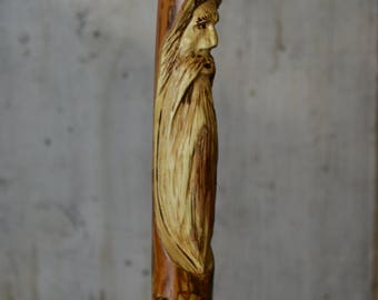 "Hand Carved Walking Stick, Elm Wood Spirit, Kiln Dried Staff 60"" tall for Adults #1703, 1706"