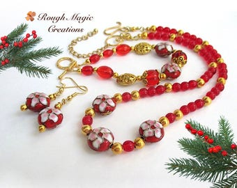 Christmas Jewelry Set Ruby Red and Gold Beaded Necklace, Toggle Bracelet, Dangle Earrings, Floral Cloisonné Poinsettia Holiday Flowers JS160