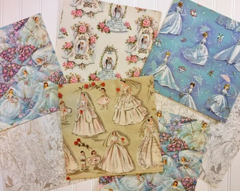 5 Vintage Wedding Wrapping Papers, Vintage Wedding Gift-wrap, Bridal Wrapping Paper, 1940s-1960s