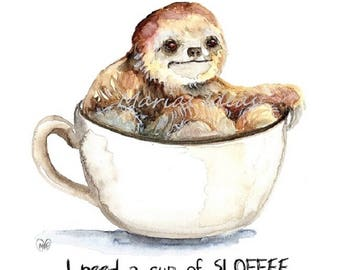 Sloffee, Sloth in Coffee cup, coffee art, cafe art, coffee art, Funny sloth art, Marias Ideas, Marias Ideas Art