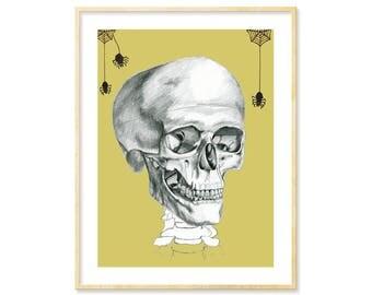 Halloween Decor, Skull Art, Anatomy Art, Spiders, Halloween Print, Curiosities, Anatomical Skull, Skull Decor, Science Art, 8.5x11, Oddities