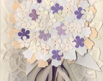 Wedding Bouquet Card - Ivory with - Touch of Green or Purple- Over 20 flowers - Free Shipping in USA