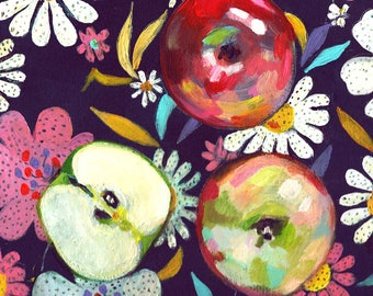 Apples on a floral colourful dark blue fabric - acrylic ORIGINAL painting on canvas - Drawing Still Life - wall art- wall decor- home decor
