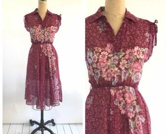 70s floral dress | vintage purple dress | sheer floral dress