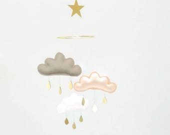 CORAL Baby Nursery mobile:Taupe,Peach,White cloud mobile by The Butter Flying- Nursery-Girl Nursery Decor-Cloud Mobile -Nursery Decor-baby