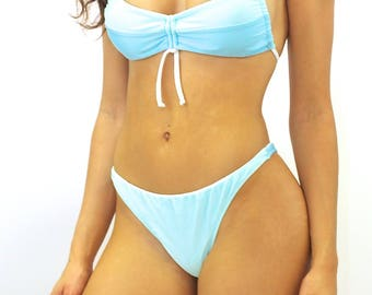 Color Block Pale Blue Bikini Top