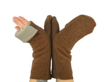 Convertible Flip Top Mittens in Cocoa Bean Brown - Recycled Wool - Fleece Lined