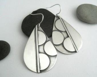 teardrop earrings, sterling silver, geometric earrings, dangle earrings, shape blocking, modern jewelry, pear shaped earrings, silver drop