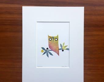 Ramona The Owl, Original Cut-Paper Artwork