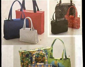 DIAPER BAG Tote Sewing Pattern ~ Purse Handbag Zipper Totes OOP 8331
