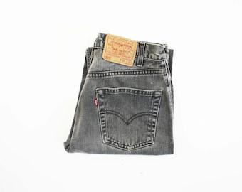 "30 X 31"": UNISEX Vintage LEVI Strauss and Co. 550 Medium Black Wash Denim Jeans"