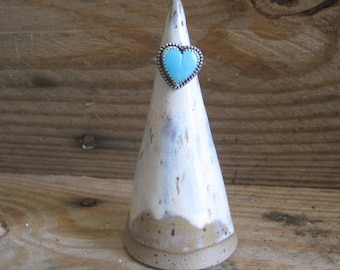 Pottery Ring Holder, Ring Cone, Stoneware Ring Holder, Stocking Stuffer, Cream Pottery, Jewelry Display