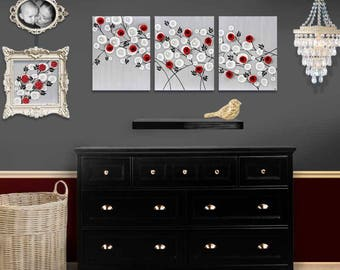 3 Piece Wall Art on Canvas Painting of Red Roses - Large Mixed Media Art - Gray Black and Red - 50x20